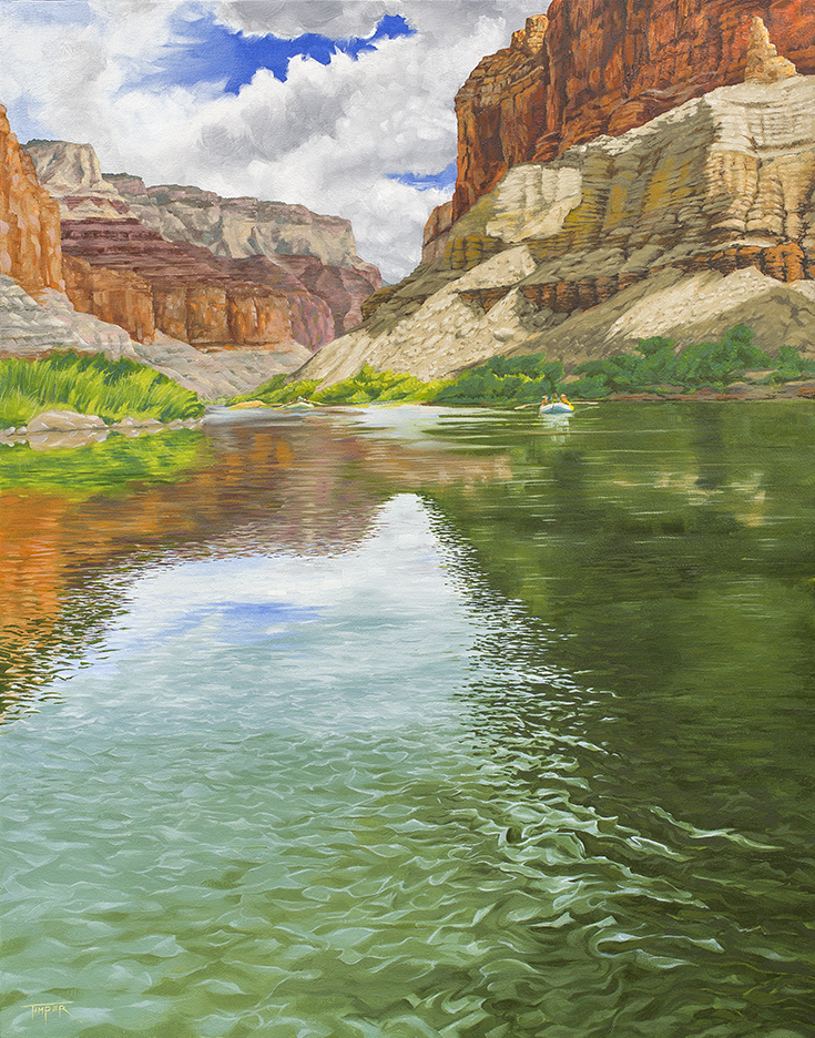 Oil on Canvas, Marble Canyon, Colorado River, Grand Canyon National Park
